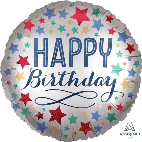 Happy Birthday Satin Stars Standard XL Foil Balloon